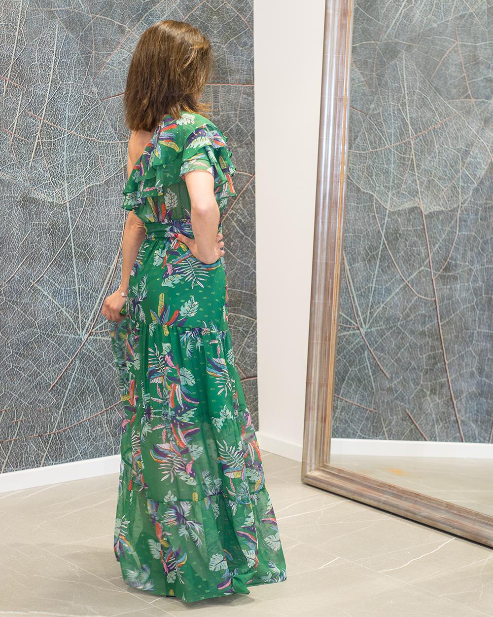 vestido largo verde flores